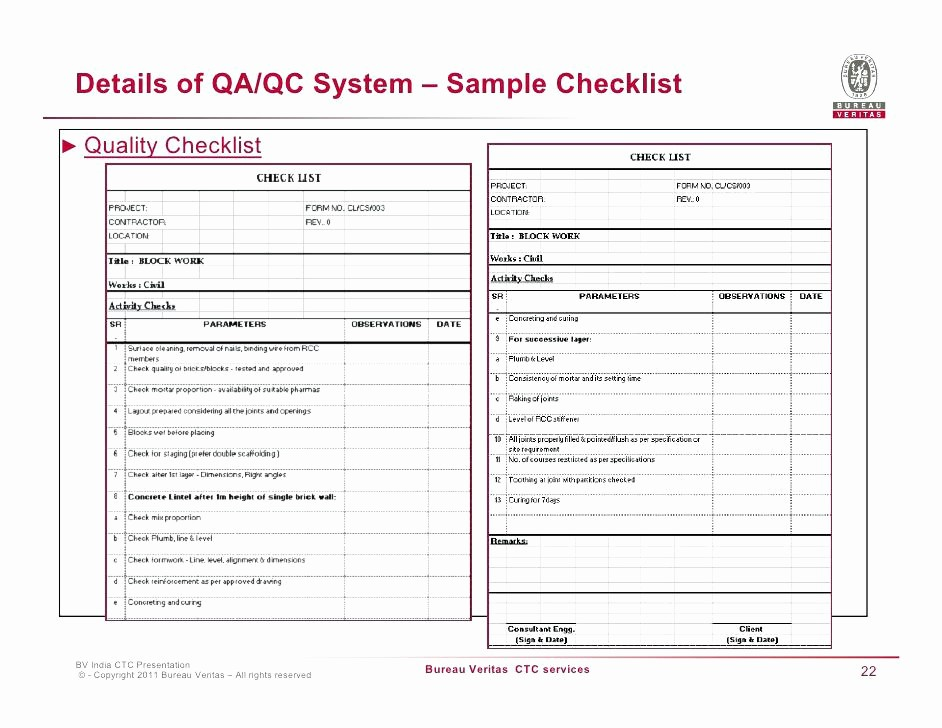 Excel Quality Control Checklist Template Inspirational Quality assurance Excel Template Control Plan Inspection