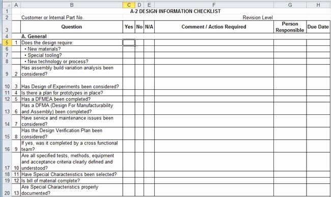 Excel Quality Control Checklist Template Inspirational