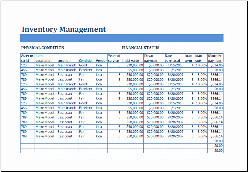 Excel Sheet for Inventory Control Beautiful Excel Business Inventory Management Template