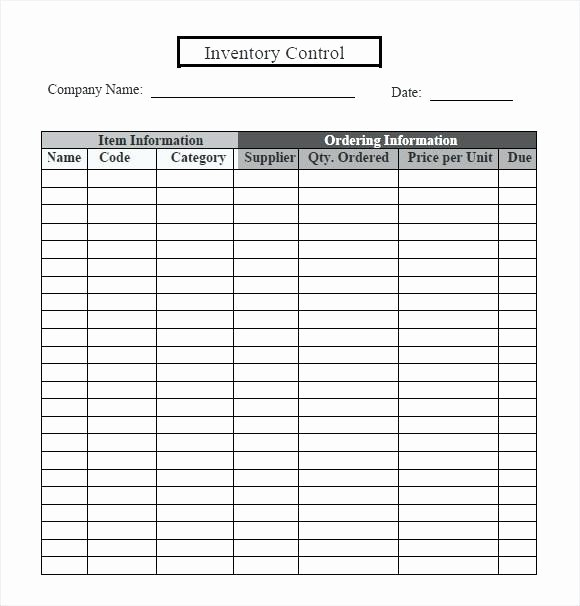 Excel Sheet for Inventory Control Fresh Free Inventory Tracking Control Template Spreadsheet Excel