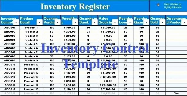 Excel Sheet for Inventory Control Unique Excel Sheet format – Rightarrow Template Database