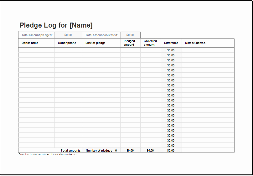 Excel Spreadsheet for Church Contributions Unique Donation Pledge Log Template for Excel