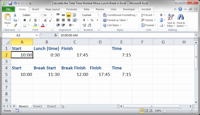 Excel Spreadsheet for Hours Worked Fresh Calculate the total Time Worked Minus Lunch Breaks In