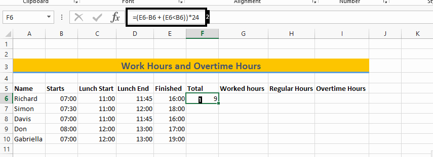 Excel Spreadsheet for Hours Worked Inspirational Excel formula to Calculate Hours Worked and Overtime