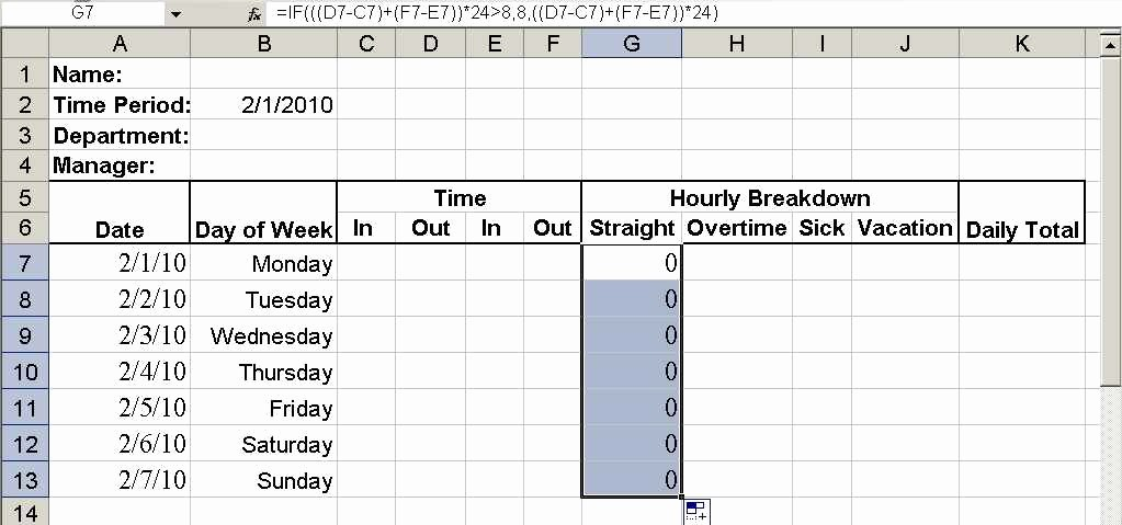 Excel Spreadsheet for Hours Worked Lovely Build A Simple Timesheet In Excel Techrepublic