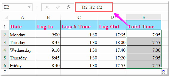 Excel Spreadsheet for Hours Worked Lovely How to Calculate Hours Worked and Minus Lunch Time In Excel