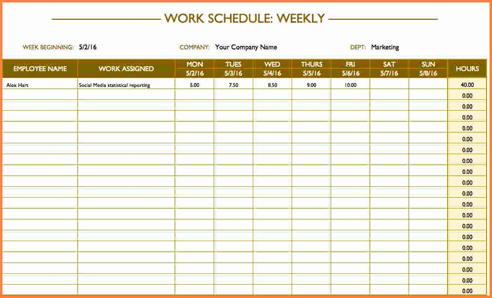 Excel Spreadsheet for Hours Worked Unique 10 Schedule Spreadsheet Template