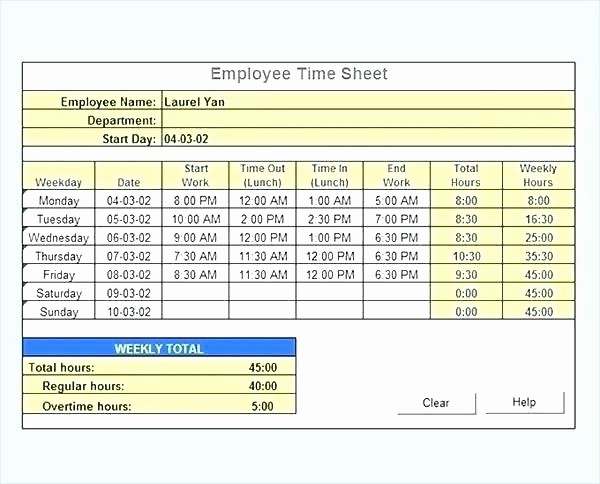 Excel Spreadsheet for Hours Worked Unique How to Calculate Overtime In Excel – orinoko2468ub