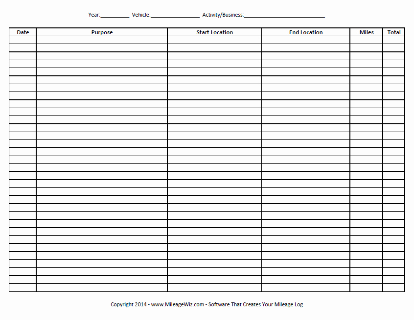 Excel Spreadsheet for Mileage Log Awesome Free Printable Mileage Log