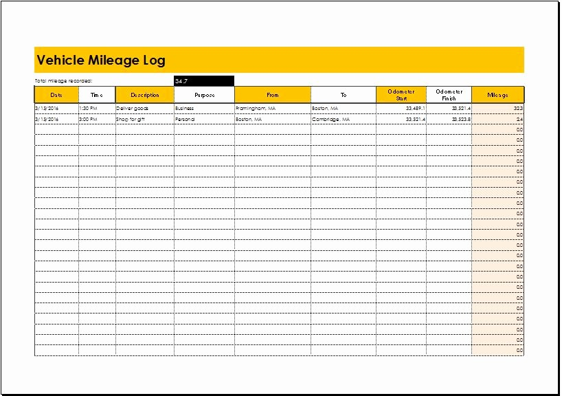 Excel Spreadsheet for Mileage Log Fresh Mileage Log Templates for Ms Excel