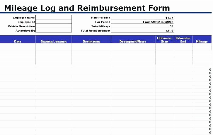 Excel Spreadsheet for Mileage Log Fresh Printable Mileage Log Template Vehicle Book Spreadsheet