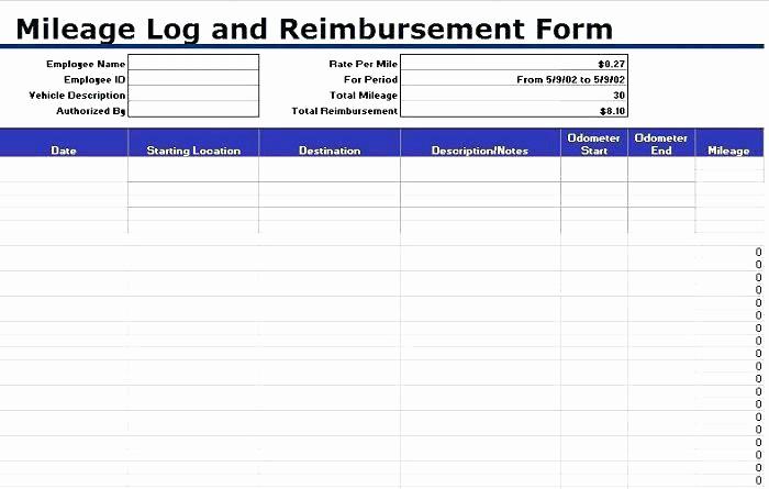 Excel Spreadsheet for Mileage Log Fresh Printable Mileage Log Template Vehicle Book Spreadsheet