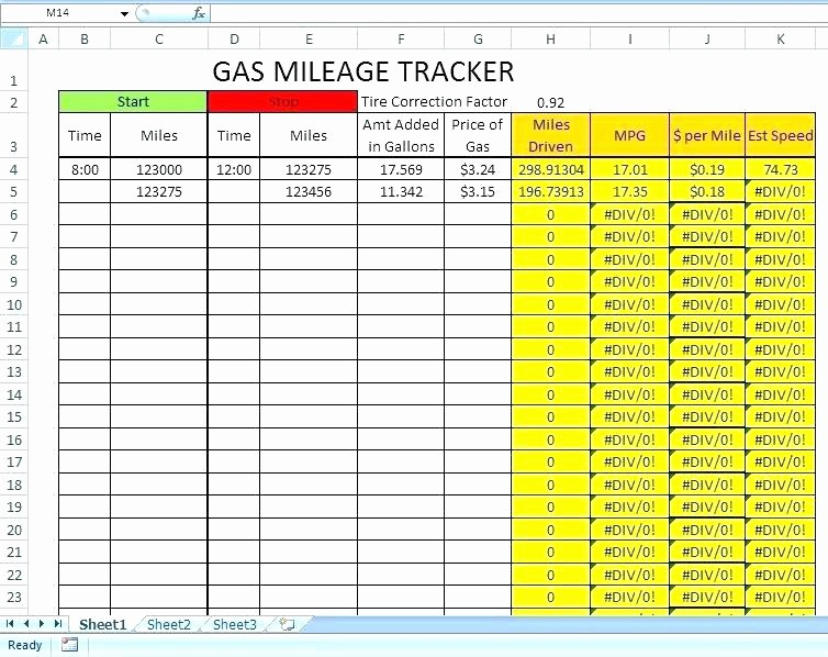 Excel Spreadsheet for Mileage Log Luxury Mileage Log Template Excel Templates Gas Sheet Business