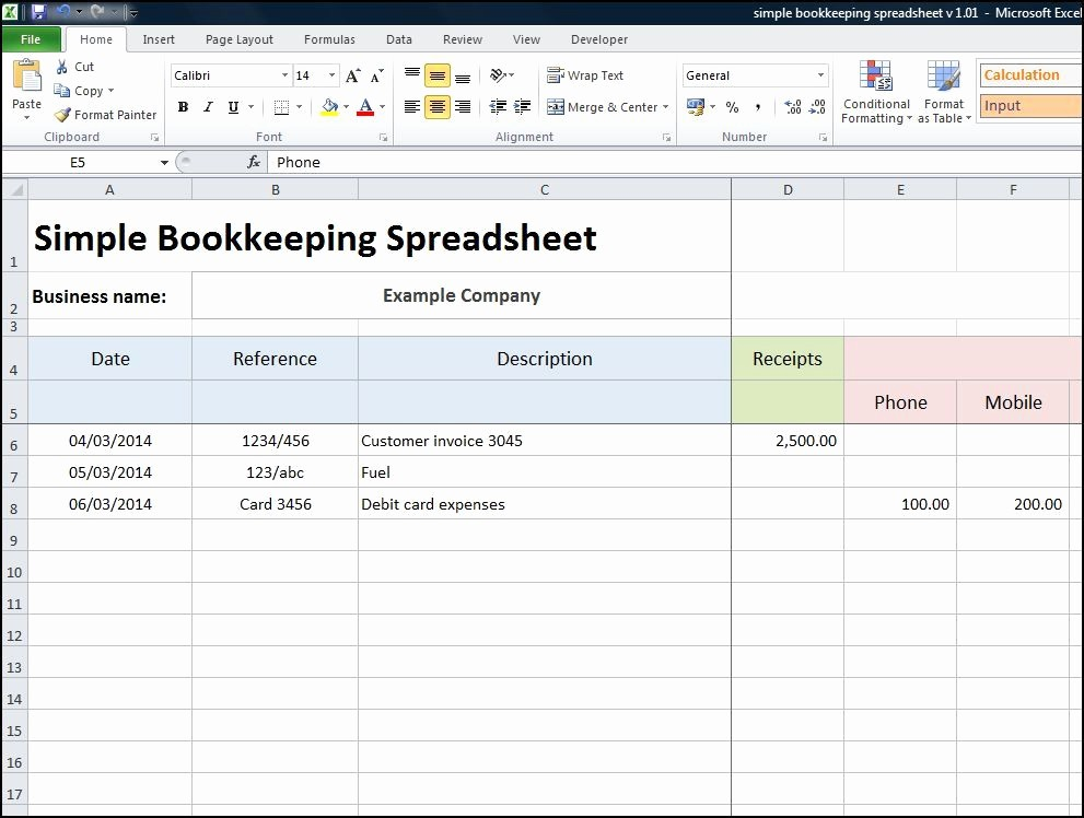 Excel Spreadsheet for Small Business New Simple Bookkeeping Spreadsheet Accounting