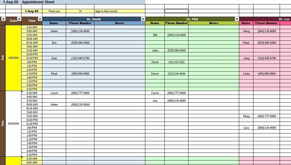 Excel Spreadsheet Template for Scheduling Best Of Appointment and Scheduding Spreadsheet Templates