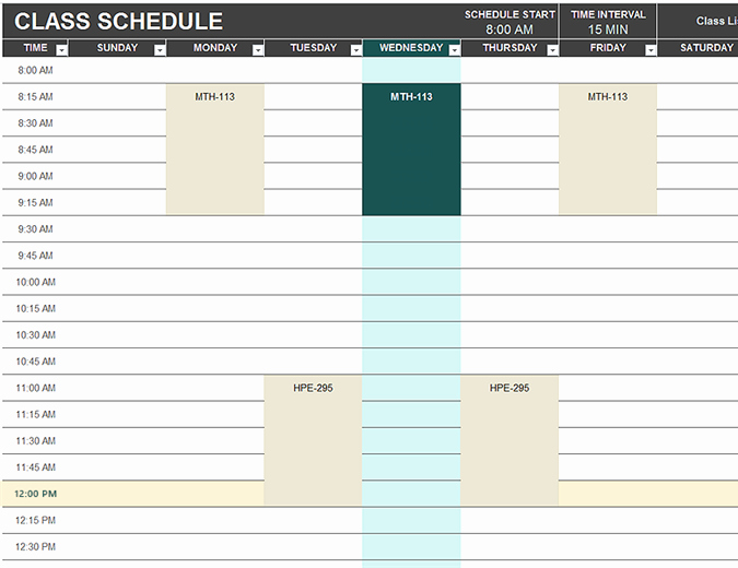 Excel Spreadsheet Template for Scheduling Elegant Student Schedule