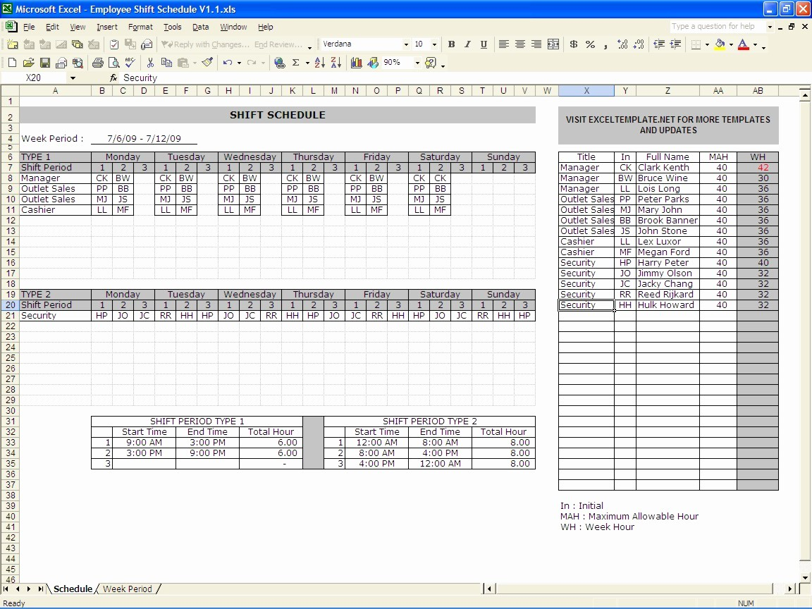 Excel Spreadsheet Template for Scheduling Lovely Excel Shift Schedule Template