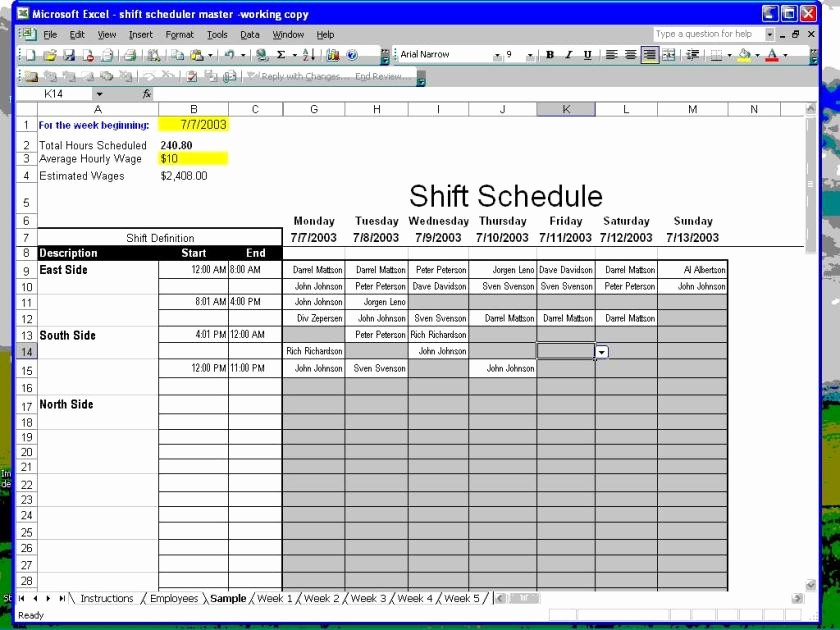 excel shift schedule template 4088