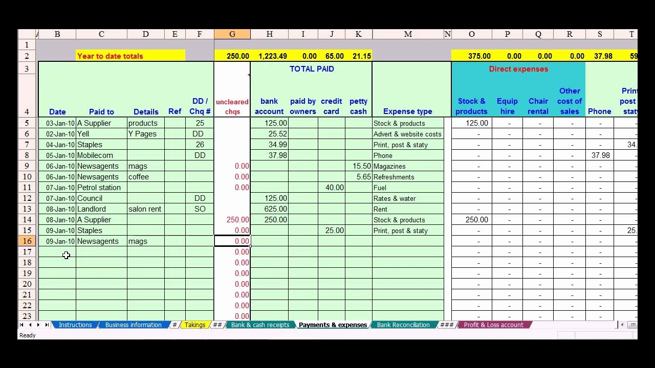 bookkeeping spreadsheet template free