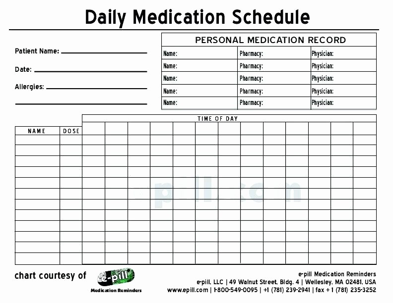 Excel Template for Medication Schedule Beautiful Home Medication Chart Template Free Daily Schedule