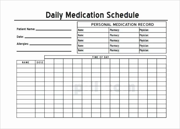 Excel Template for Medication Schedule Best Of Home Medication Chart Template Free Daily Schedule