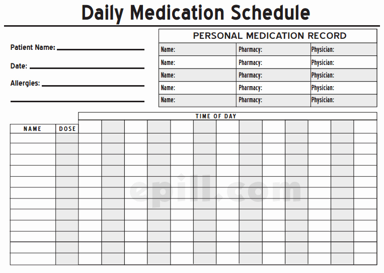 Excel Template for Medication Schedule Fresh 6 Medication Intake Schedule Templates – Word Templates