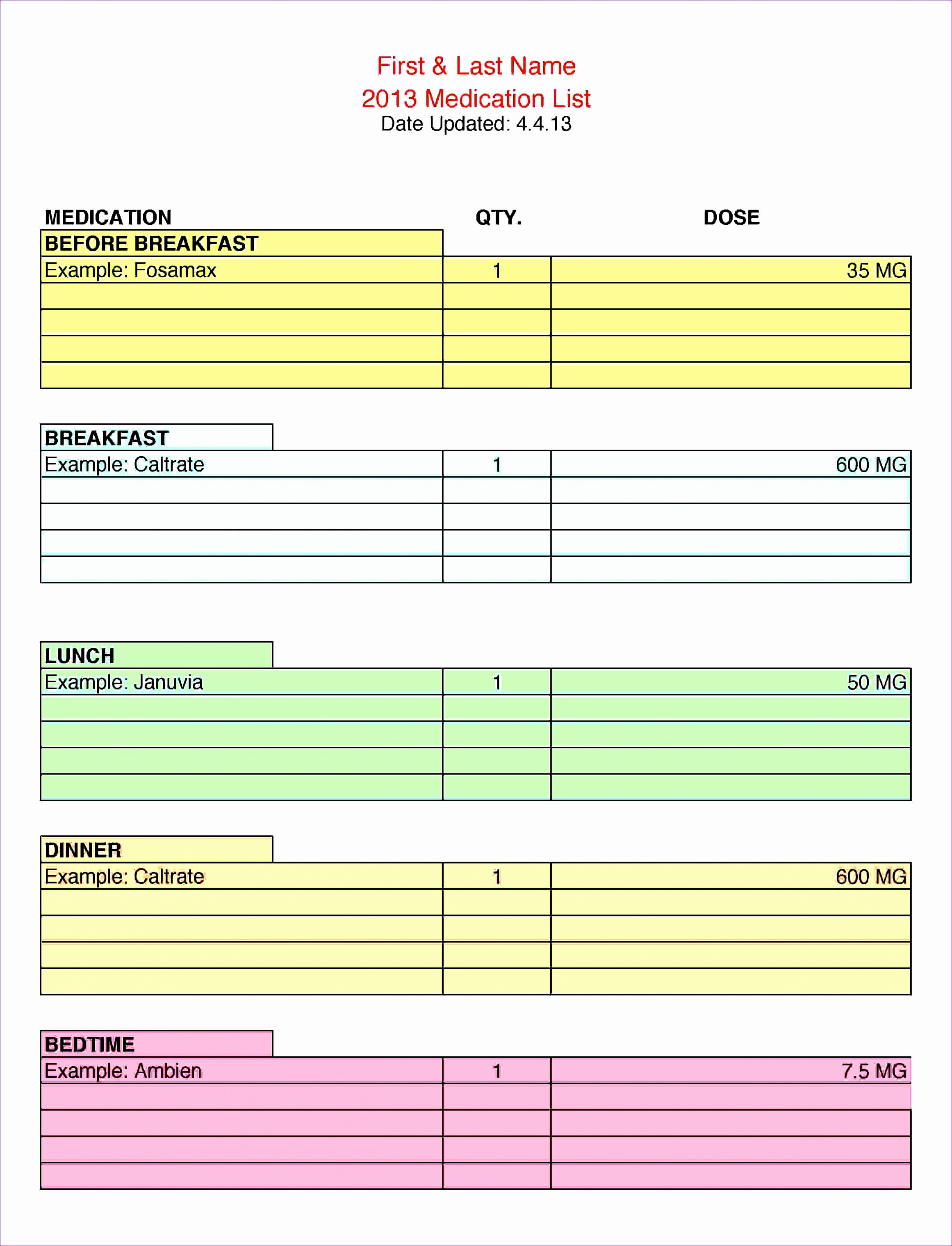 Excel Template for Medication Schedule Inspirational 8 Excel Quarterly Calendar Template Exceltemplates