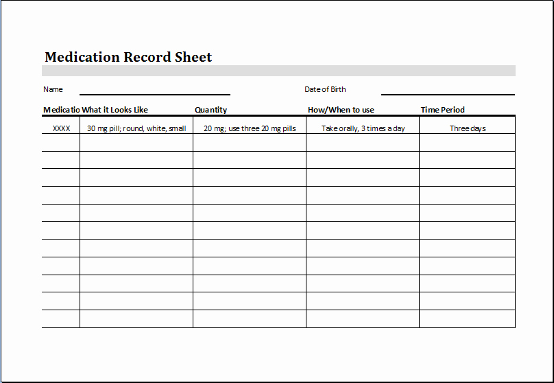 Excel Template for Medication Schedule Inspirational Medication Record Sheet