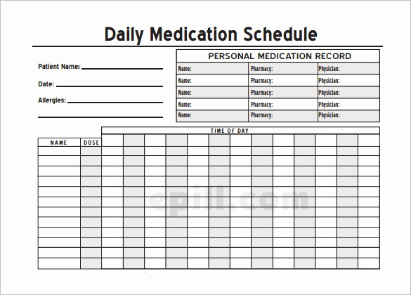 Excel Template for Medication Schedule Inspirational Medication Schedule Template 14 Free Word Excel Pdf