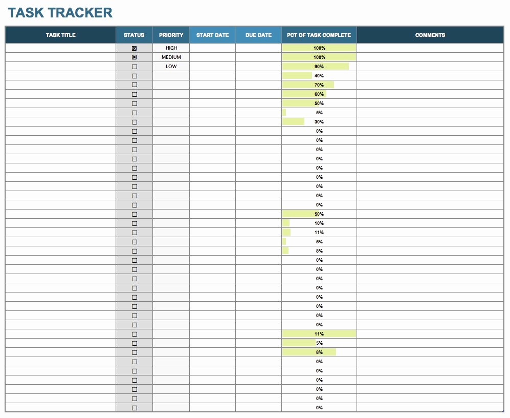 Excel Template for Tracking Tasks Beautiful 15 Free Task List Templates Smartsheet