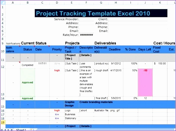 Excel Template for Tracking Tasks Lovely 6 Project Deliverables Template Excel Exceltemplates