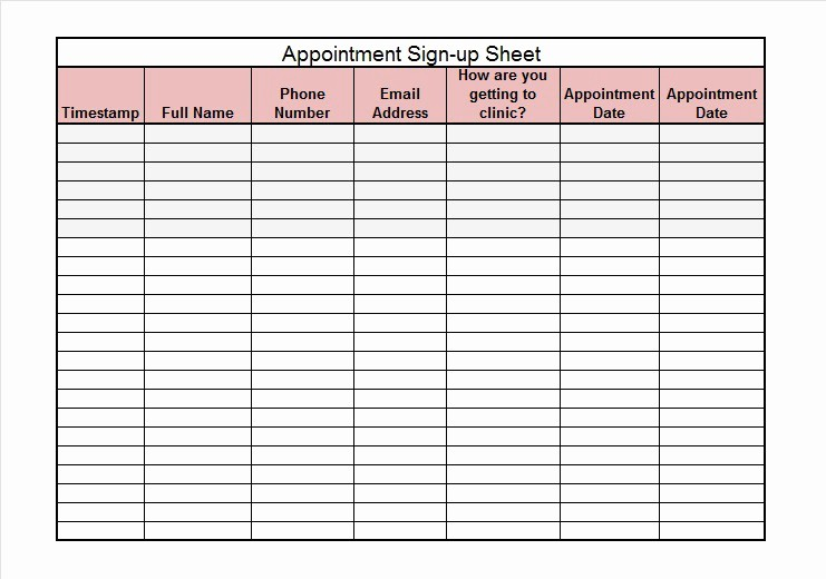 Excel Template Sign In Sheet Awesome 40 Sign Up Sheet Sign In Sheet Templates Word & Excel