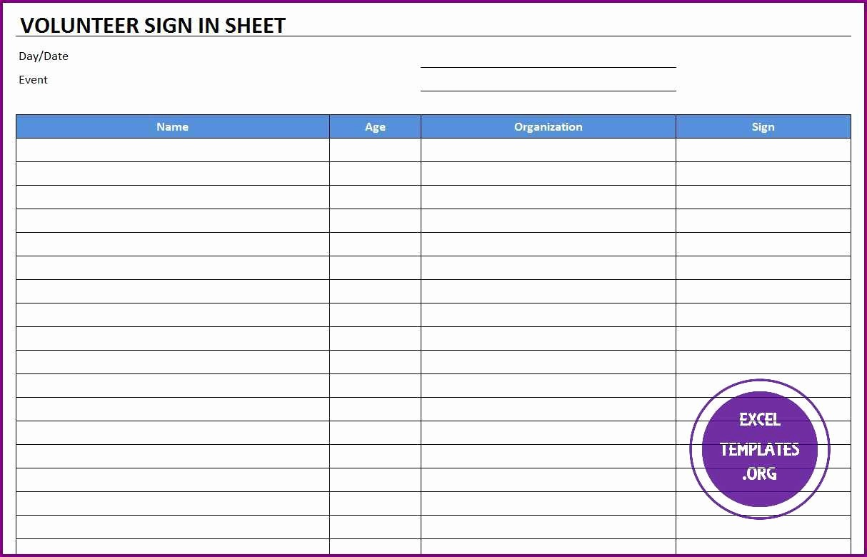 Excel Template Sign In Sheet Awesome Volunteer Sign In Sheet Template Excel Templates