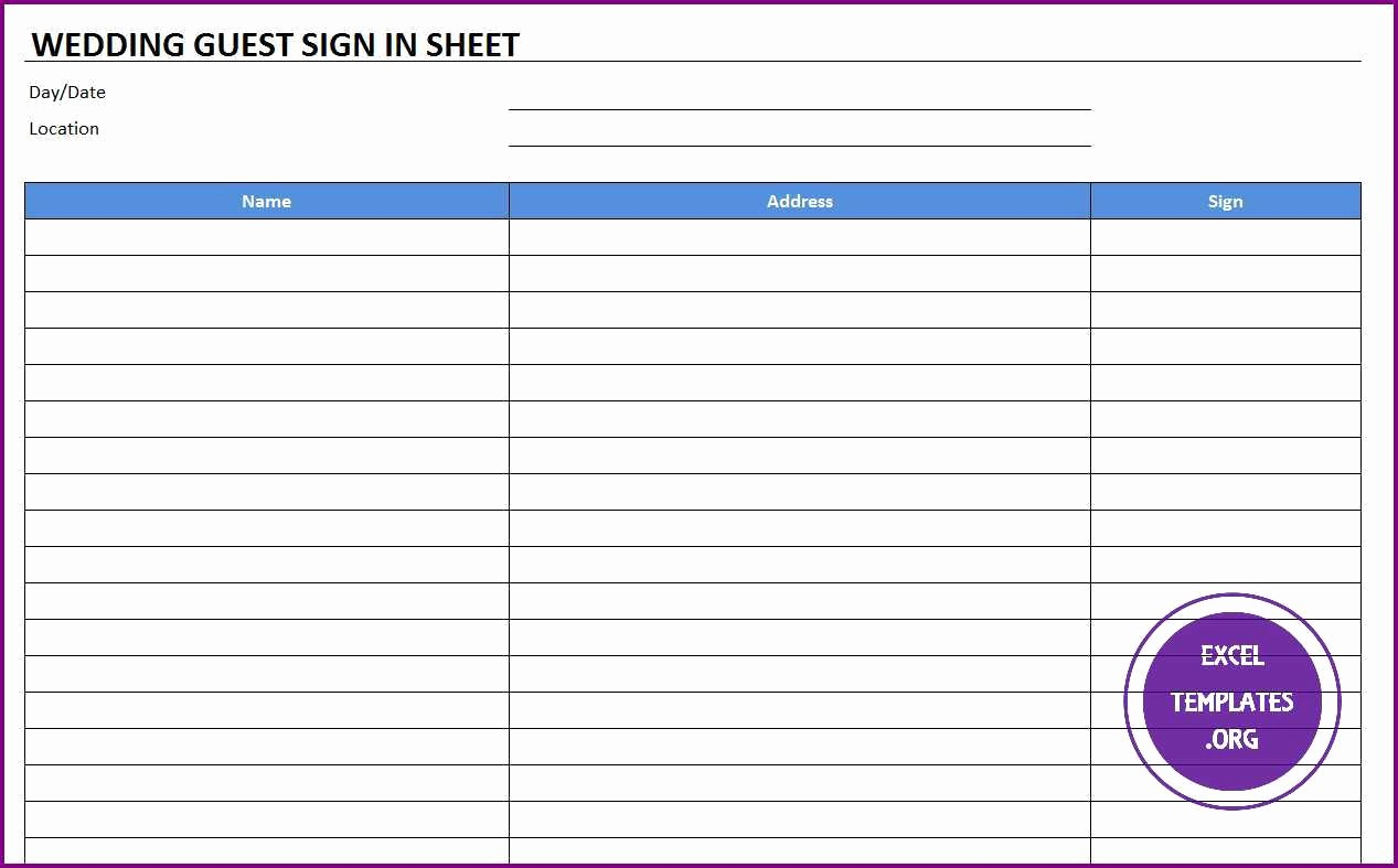 Excel Template Sign In Sheet Unique Wedding Guest Sign In Sheet Template