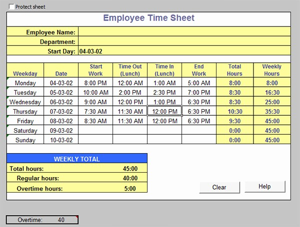 Excel Time Card Template Free Elegant 15 Time Card Calculator Templates