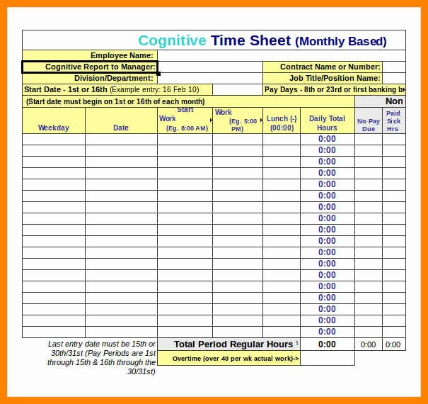 Excel Time Card Template Free Elegant 9 Excel Time Card Templates