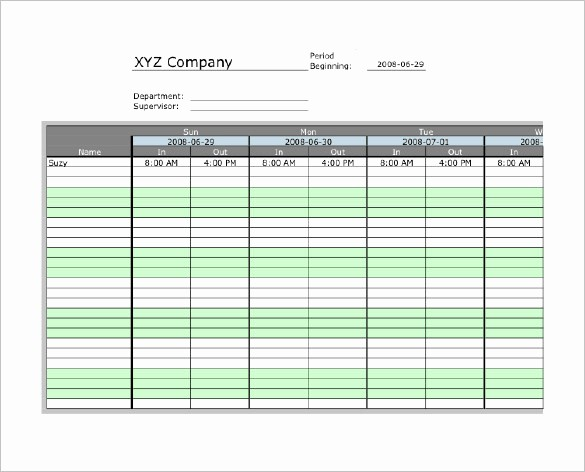 Excel Time Card Template Free Fresh 7 Printable Time Card Templates Doc Excel Pdf