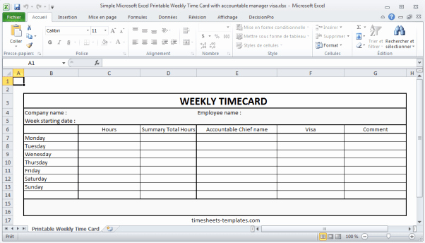 Excel Time Card Template Free Inspirational 9 Free Printable Time Cards Templates Excel Templates