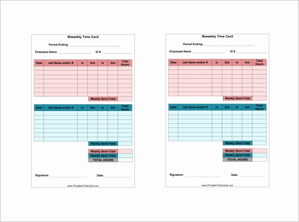 Excel Time Card Template Free Luxury 7 Printable Time Card Templates Doc Excel Pdf
