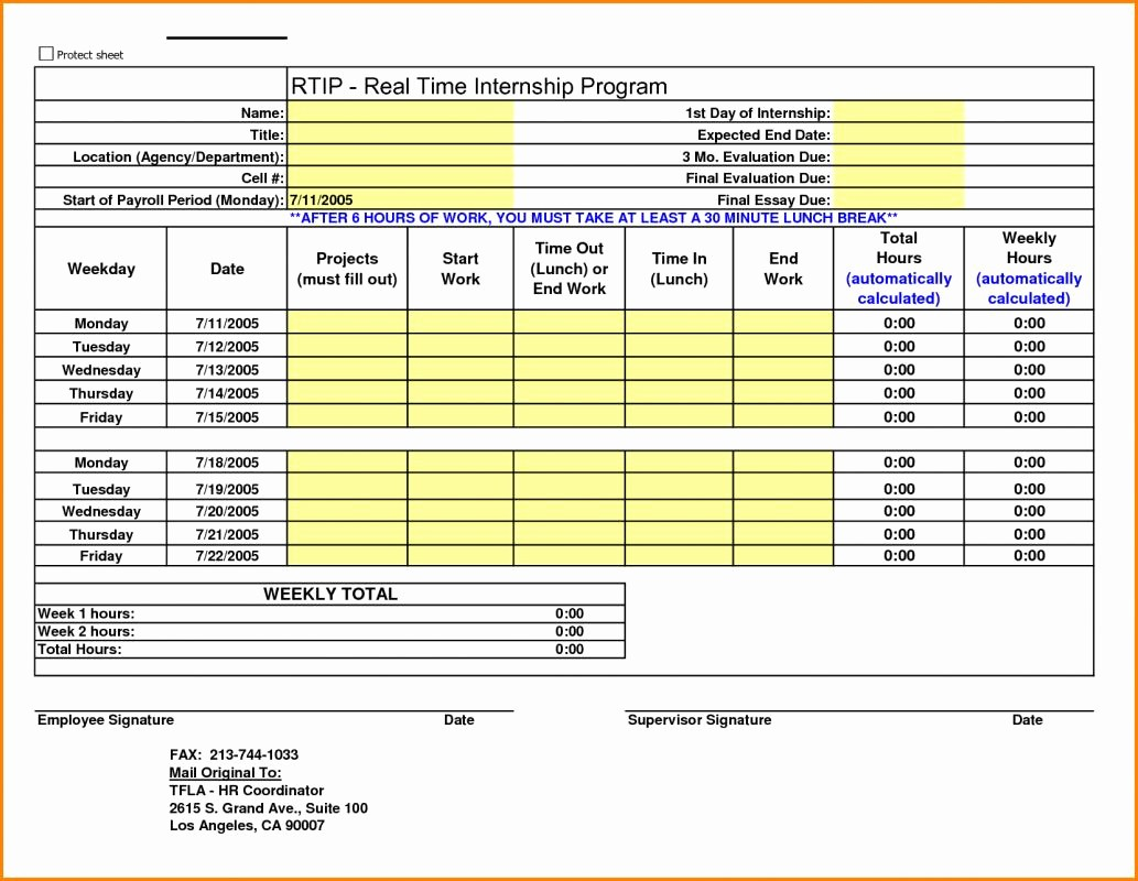 Excel Time Card Template Free Unique Excel Time Card Template