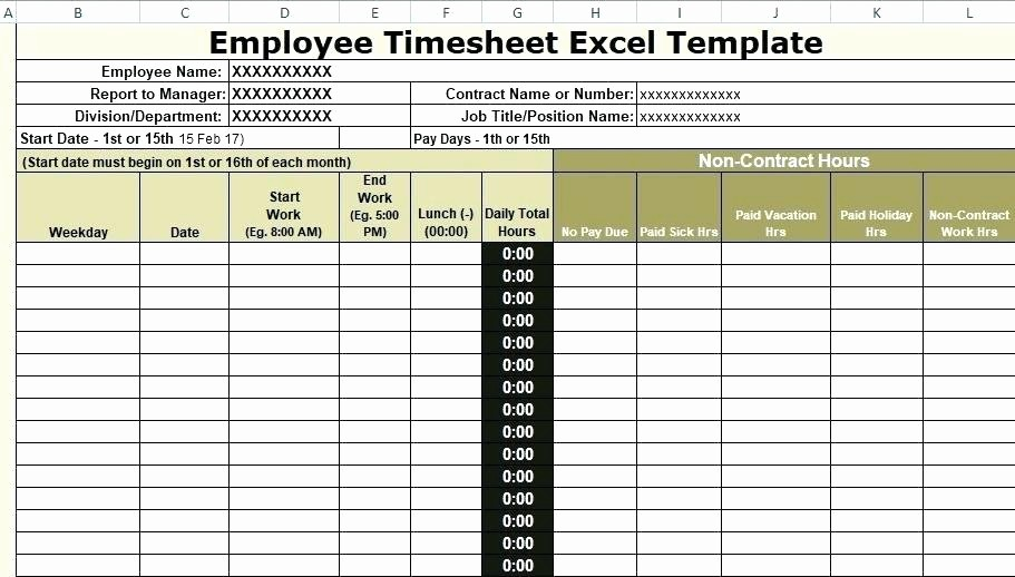 Excel Timesheet for Multiple Employees Elegant Excel Timecard Template Sample Employee Monthly Timesheet