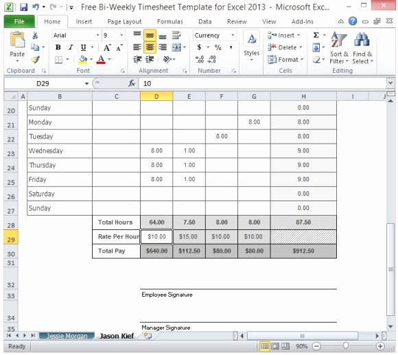 Excel Timesheet for Multiple Employees Inspirational Free Bi Weekly Timesheet Template for Excel 2013