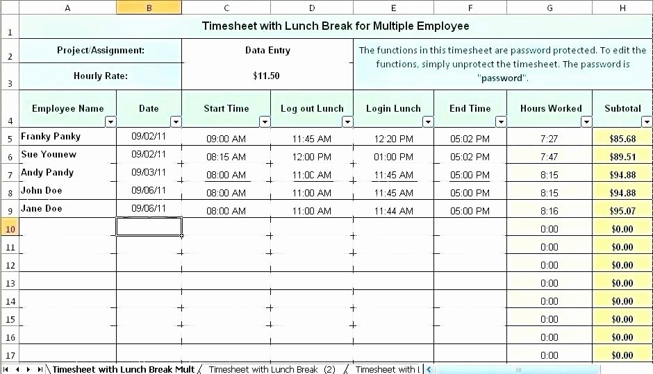 Excel Timesheet Template Multiple Employees Elegant Weekly Work Schedule Template Excel Employee Multiple