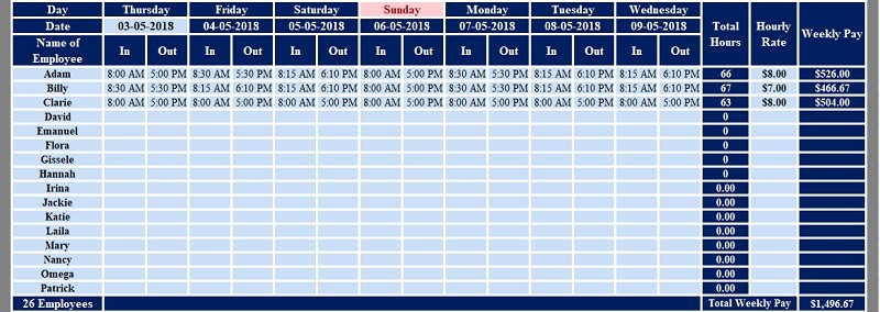 Excel Timesheet Template Multiple Employees Fresh Download Multiple Employees Weekly Timesheet Excel