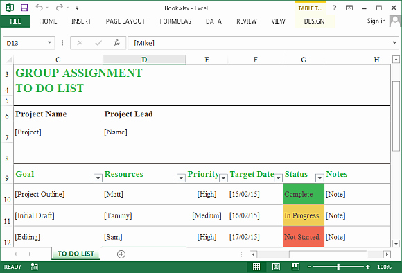 Excel to Do List Template Awesome Group assignment to Do List Template for Excel Line