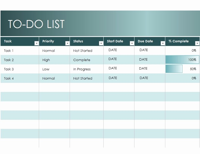 office to do list template excel