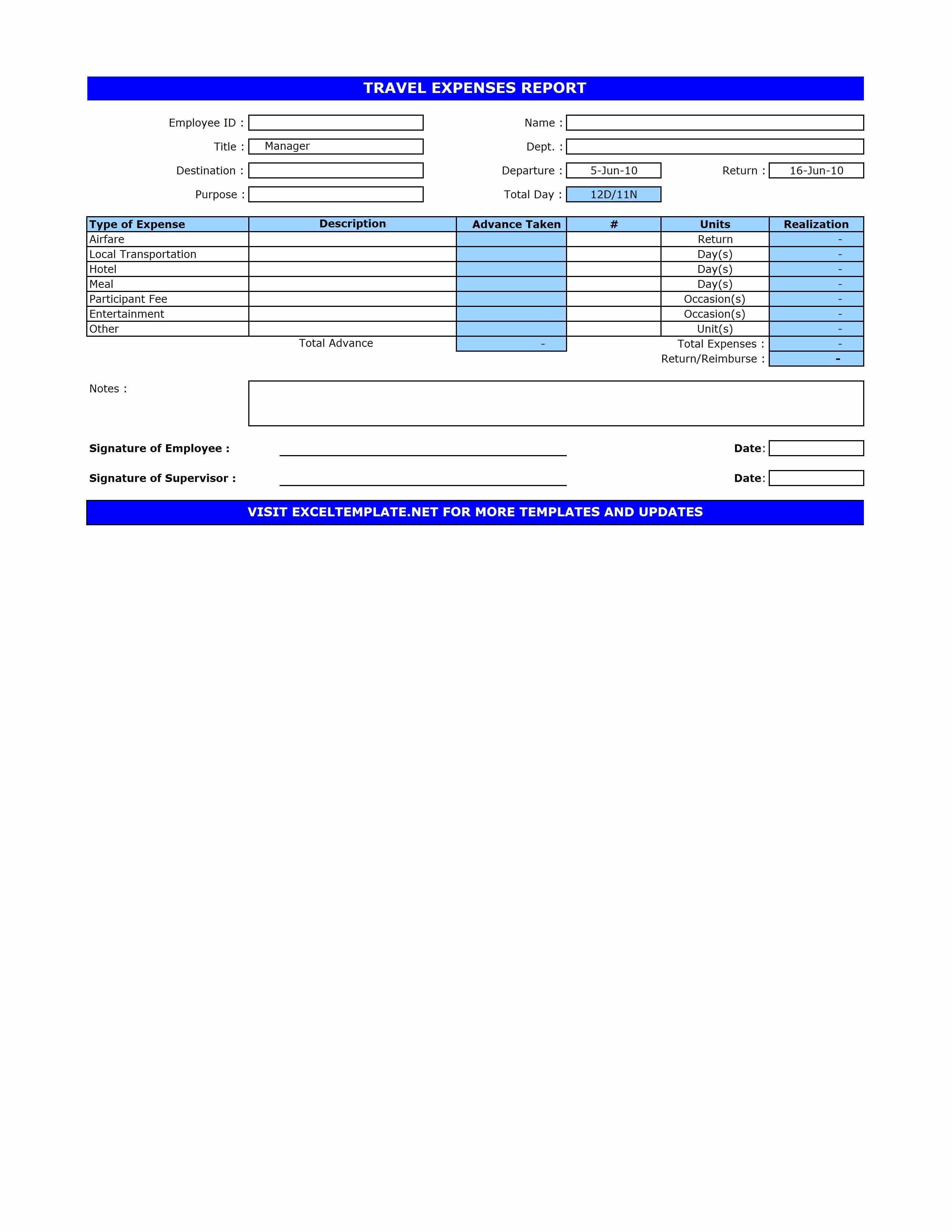 Excel Travel Expense Report Template Beautiful Travel Expenses Report Template