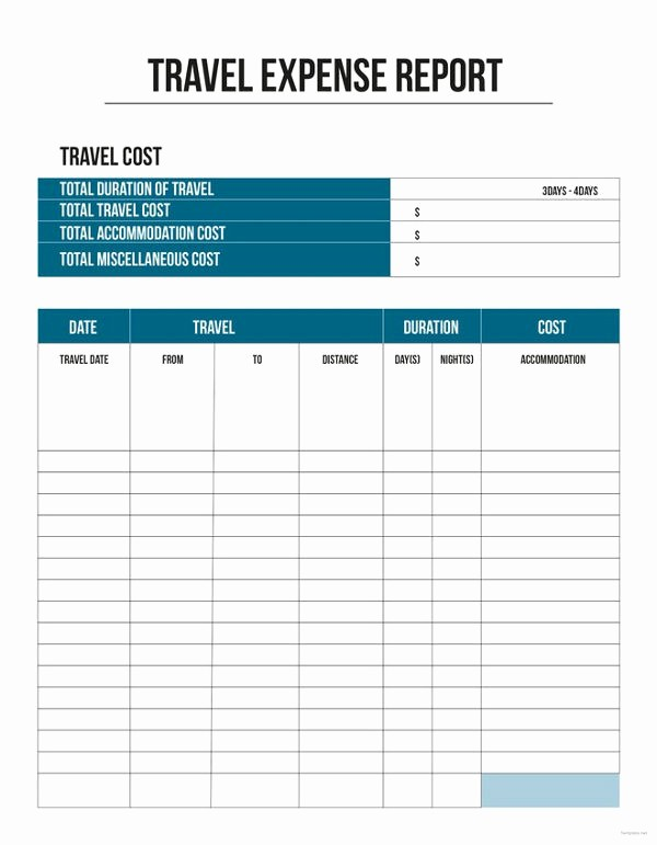 Excel Travel Expense Report Template Elegant 11 Travel Expense Report Templates – Free Word Excel