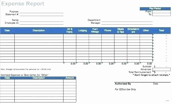 Excel Travel Expense Report Template Lovely Travel Expense Reimbursement form Template Excel Report
