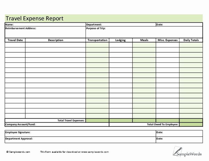 Excel Travel Expense Report Template New 6 Employee Expense Report Templates – Word Templates